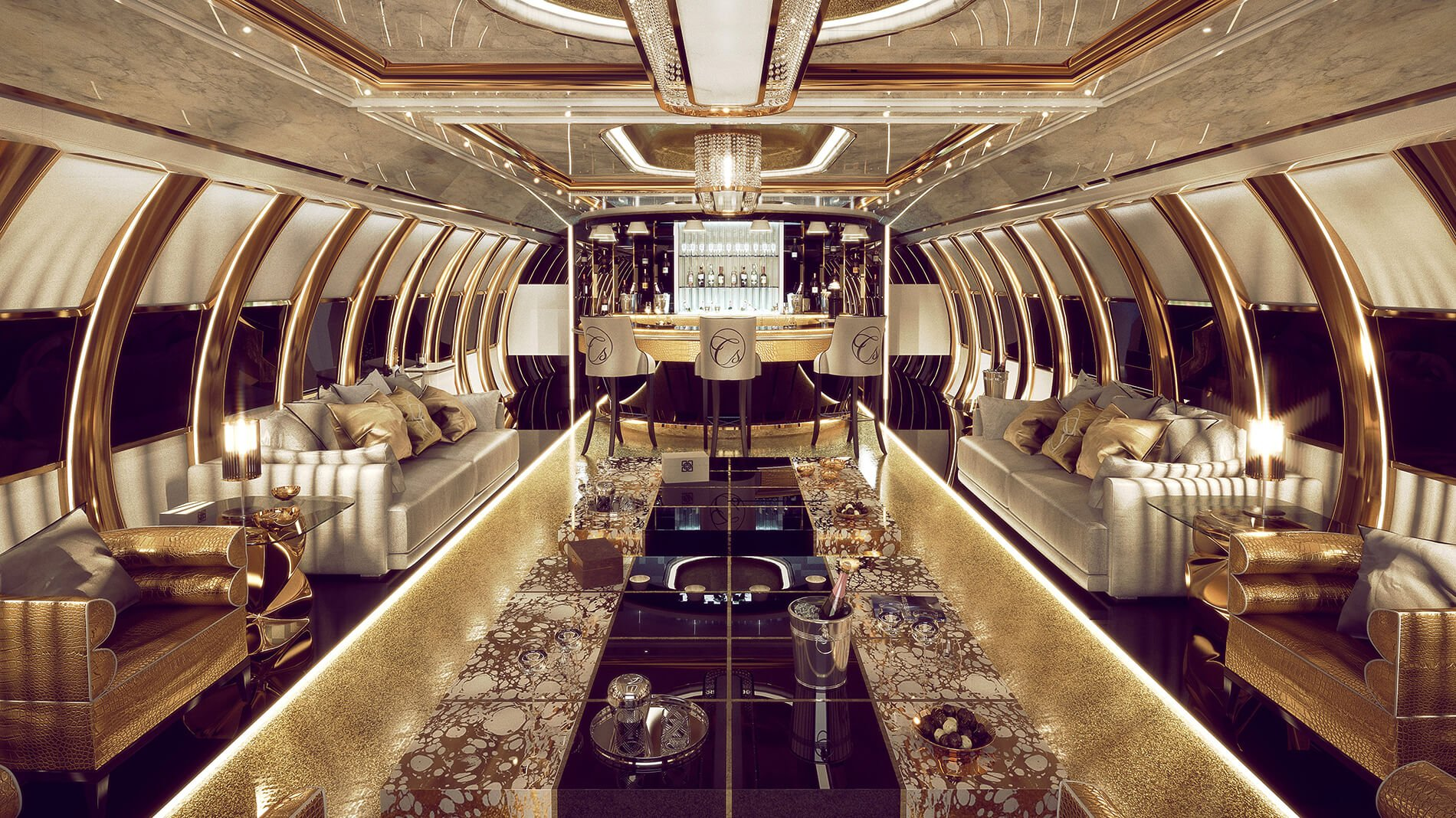 This private Airbus A340 designed for a Middle Eastern Royal is fitted with gold plated chandeliers, Swarovski wash basin and an illuminated bar