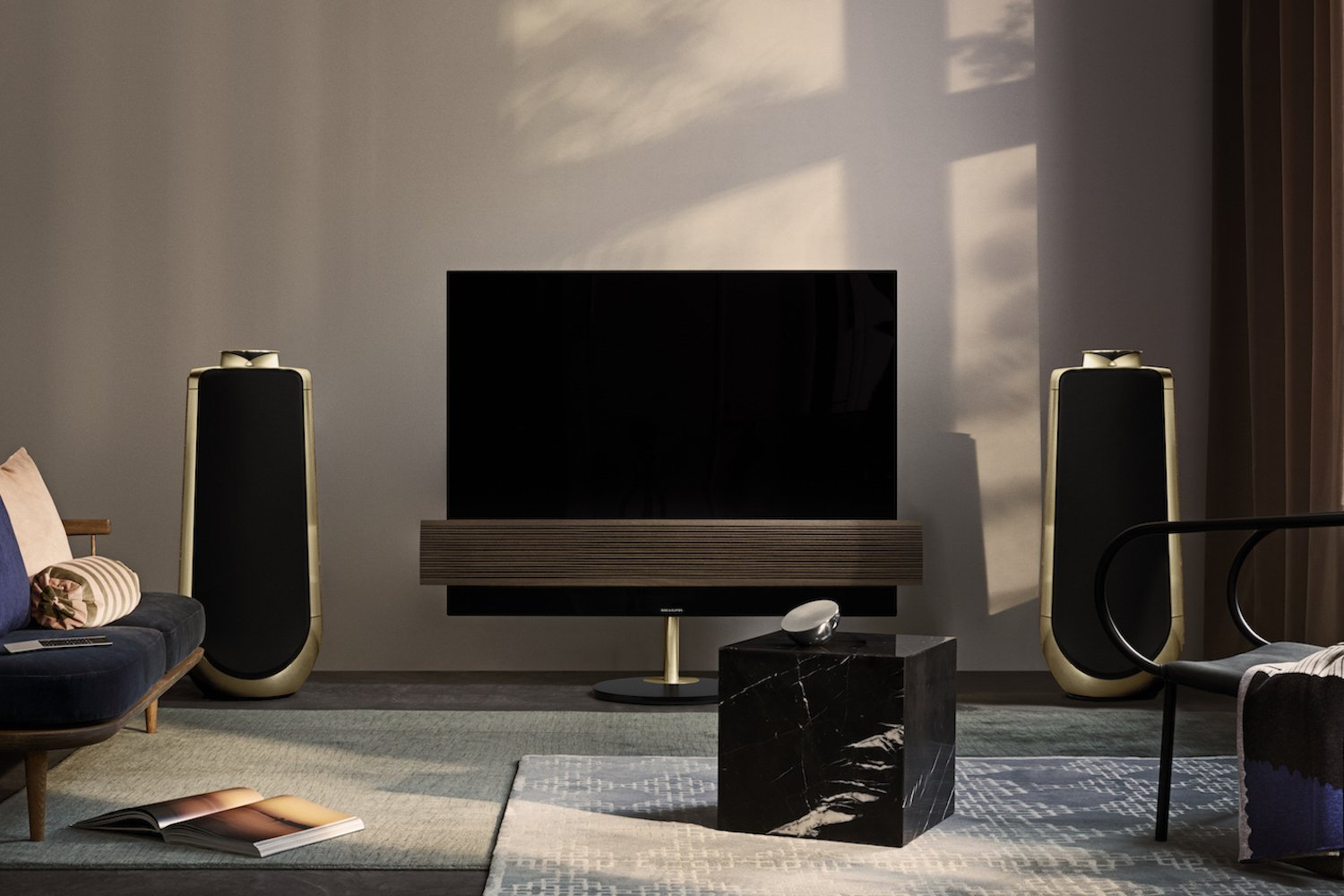 bang olufsen 39 s stunning oled tv and speaker get a new wood and brass finished edition. Black Bedroom Furniture Sets. Home Design Ideas