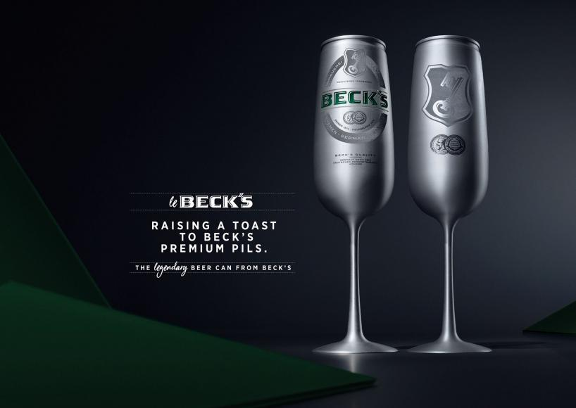 Risultati immagini per Raise a toast to this: Beck's introduces a new beer can shaped like a champagne flute foto