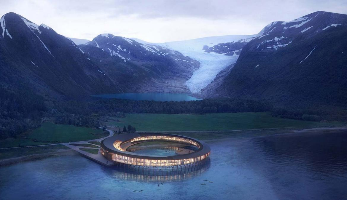 This spaceship-like hotel in Norway will offer panoramic views of the surrounding fjords and mountain -