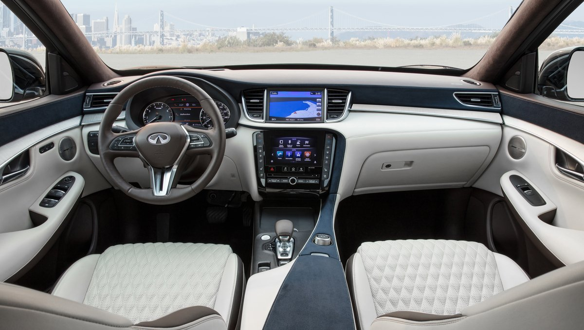 The plush interiors of the 2019 Infiniti QX50 SUV are inspired by luxury resorts