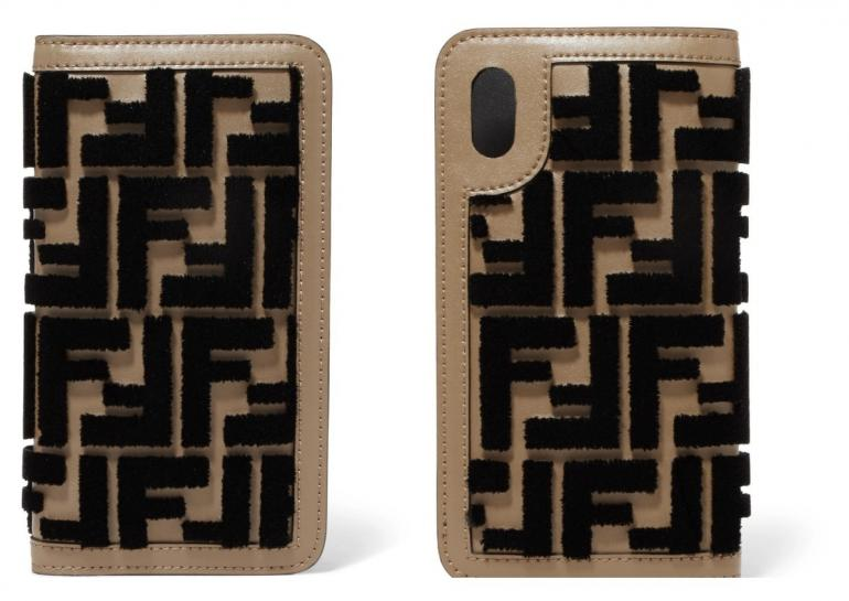 9c7a6936bd72 Flocked leather iPhone X case from Fendi – £320. Fendi s double F logo made  a comeback this year on a range of their products.