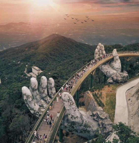 Golden bridge on Ba Na Hills Da Nang Vietnam (4)