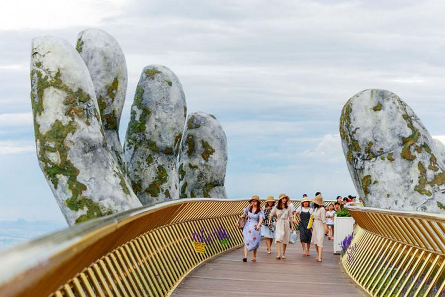 Golden bridge on Ba Na Hills Da Nang Vietnam (5)