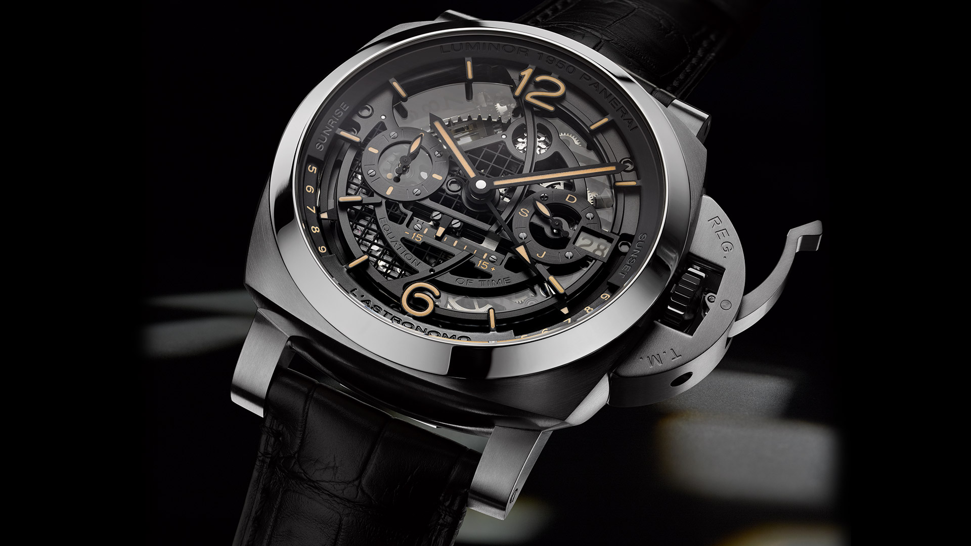 Risultati immagini per The Panerai L'Astronomo Luminor 1950 Tourbillon Moon Phases Equation of Time GMT is a fully customizable, made-to-order masterpiece FOTO