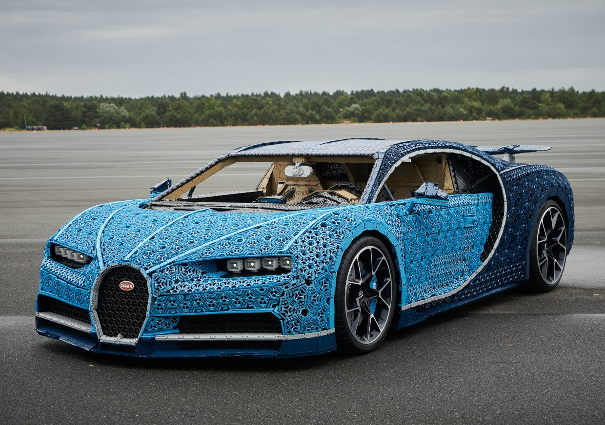 With a top speed of 18 mph this is the slowest and coolest Bugatti ever (Its made entirely from Lego)