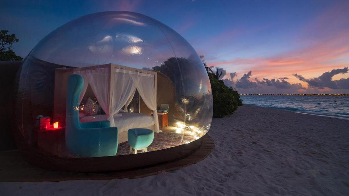 Could this be the coolest room in the whole of Maldives? (Hint – It's a bubble tent)