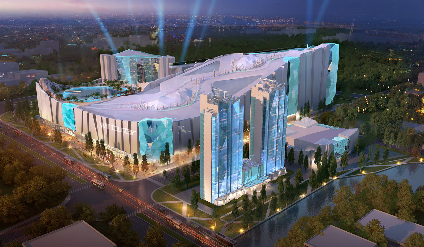 With three slopes the worlds largest indoor ski resort is coming up in China