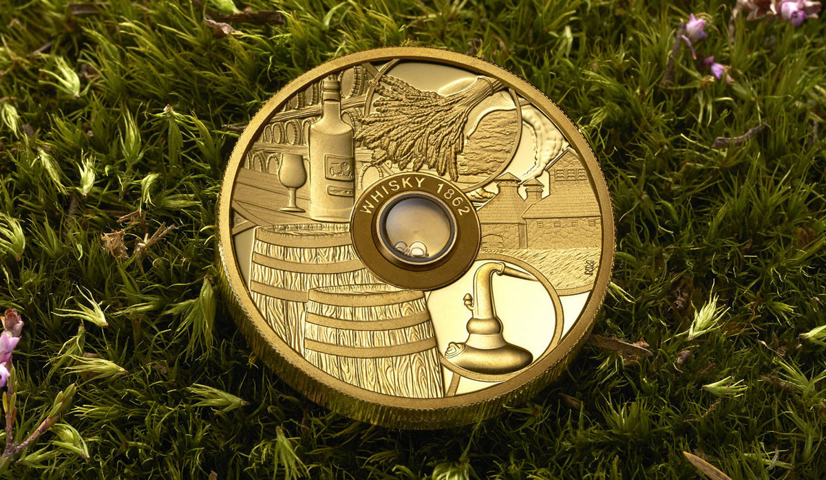 Made Of Pure Gold The Worlds First Whiskey Coin Has A