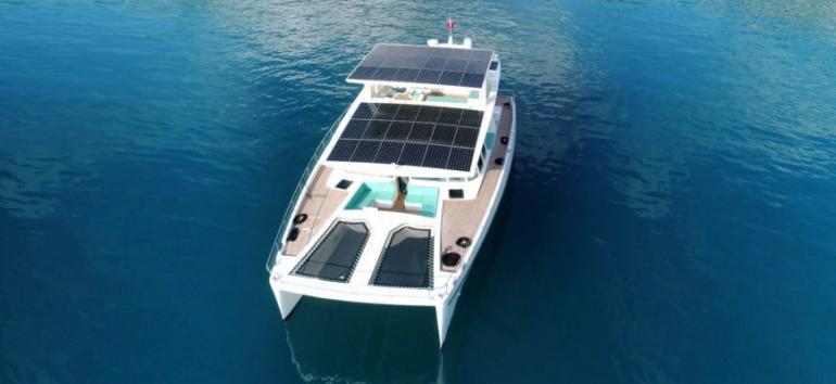 A 74-foot Neiman Marcus Edition Serenity Solar Yacht