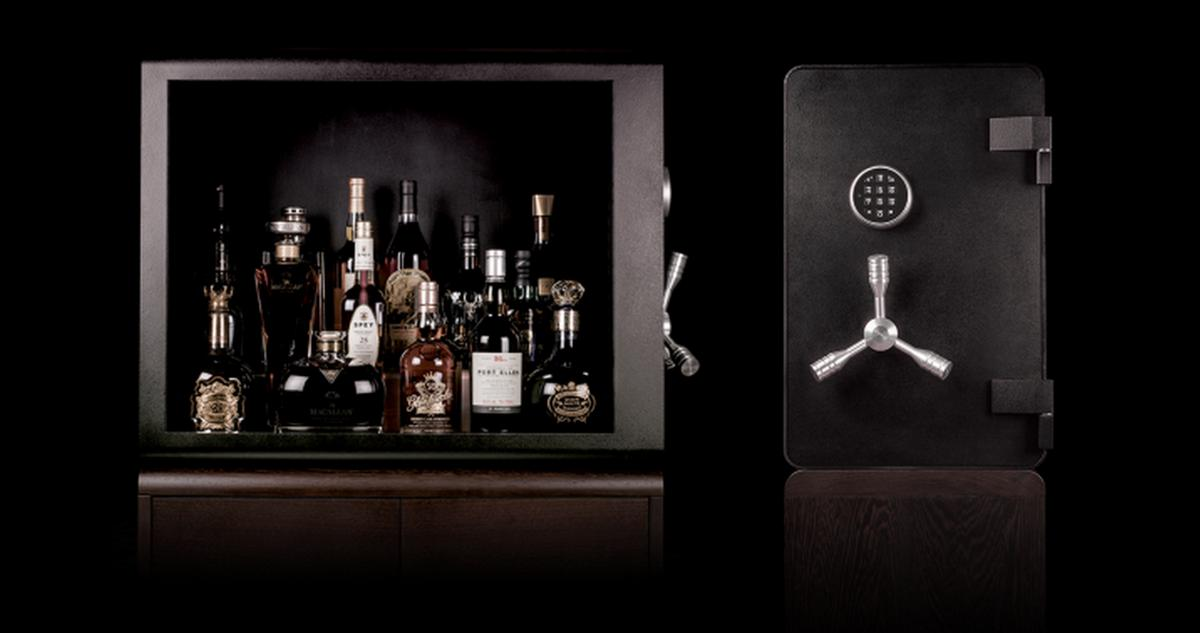 Because your Macallans are precious – An armored booze cabinet with bulletproof glass