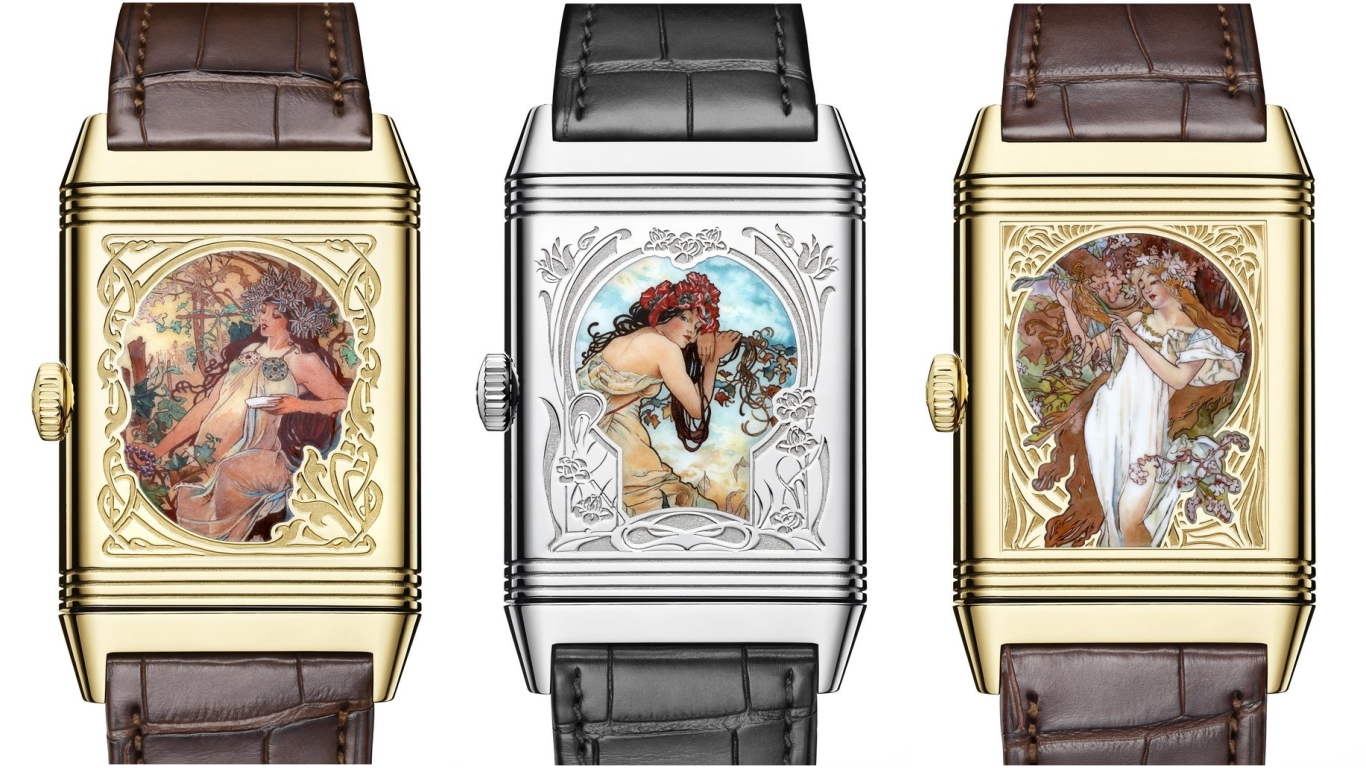 Jaeger-LeCoultre has announced three enameled Reverso timepieces that pay homage to Czech artist Alphonse Mucha -