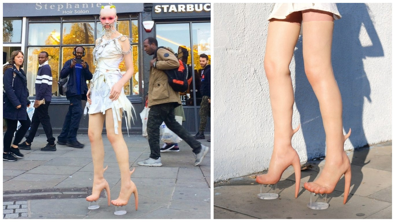 Costing $10,000 a pair these morbidly ugly heels have a flesh-like appearance -