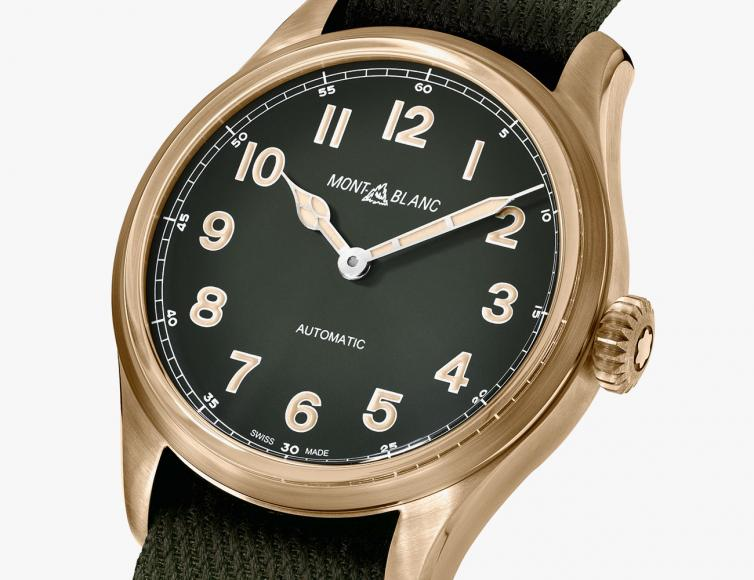 Risultati immagini per Montblanc's 1858 watches now come in new khaki green and bronze avatars foto