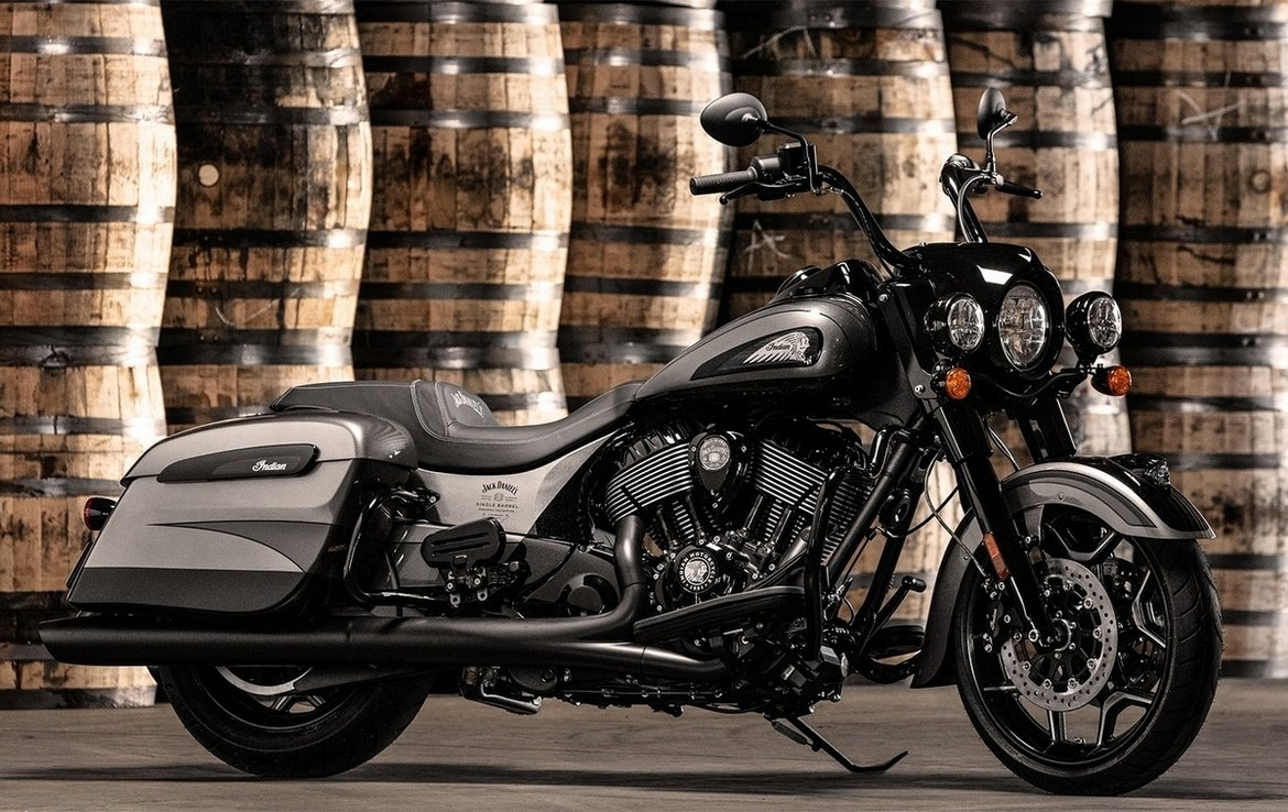 This custom motorcycle celebrates the four-year partnership between Indian Motorcycles and Jack Daniel's