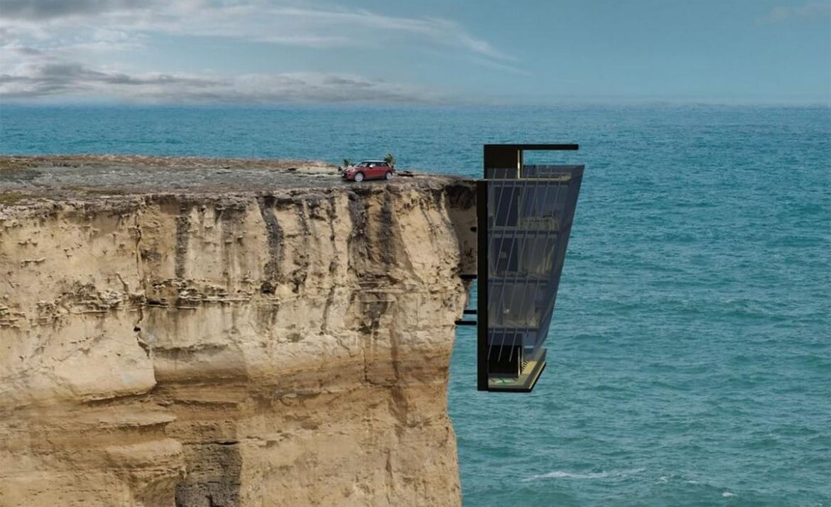 Suspended on a cliff above the Australian ocean this house is even cooler than Tony Starck's mansion -