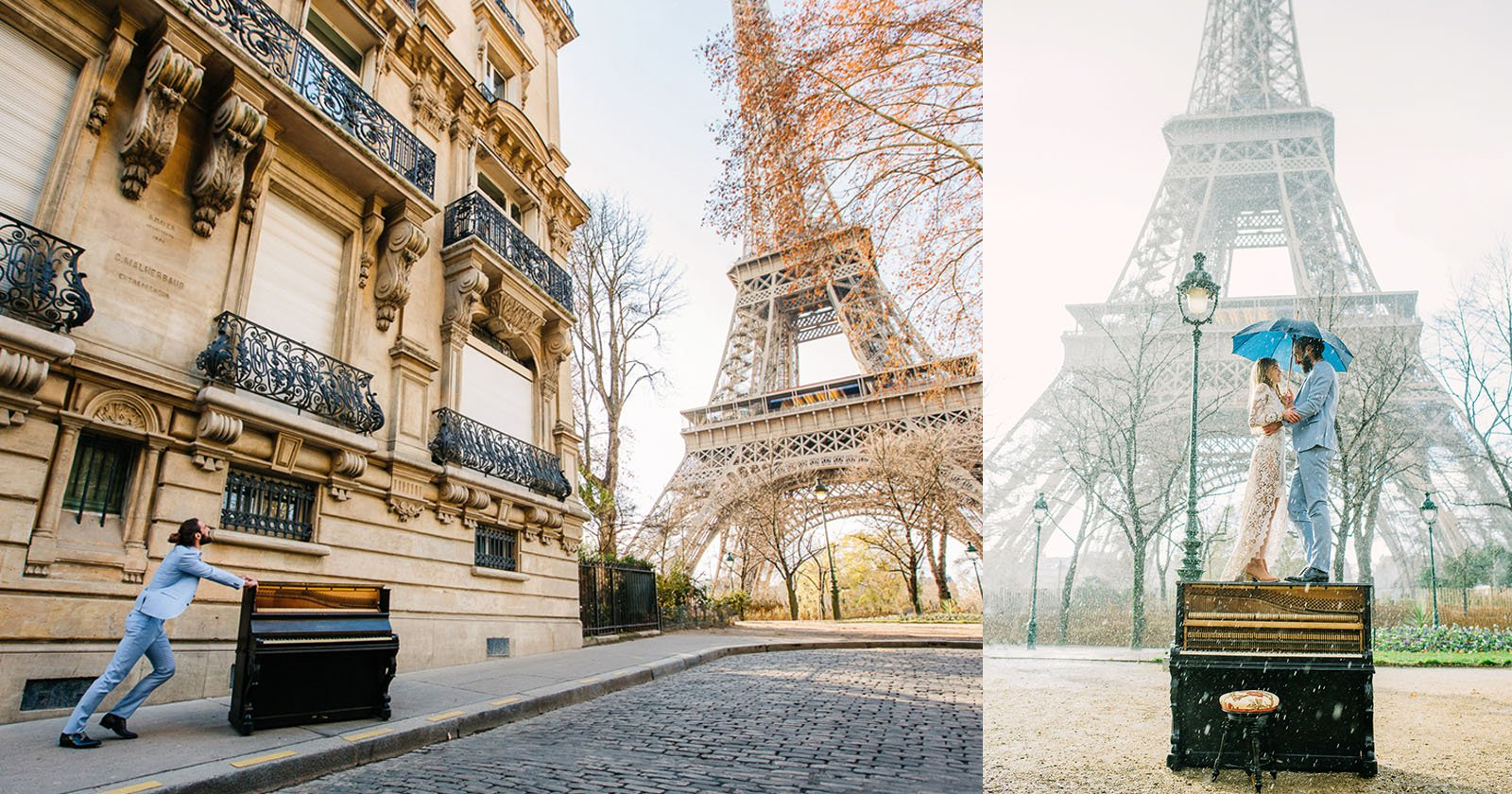 A perfect photo-shoot: Guy pushes piano right to the Eiffel tower for his wedding day photos : Luxurylaunches