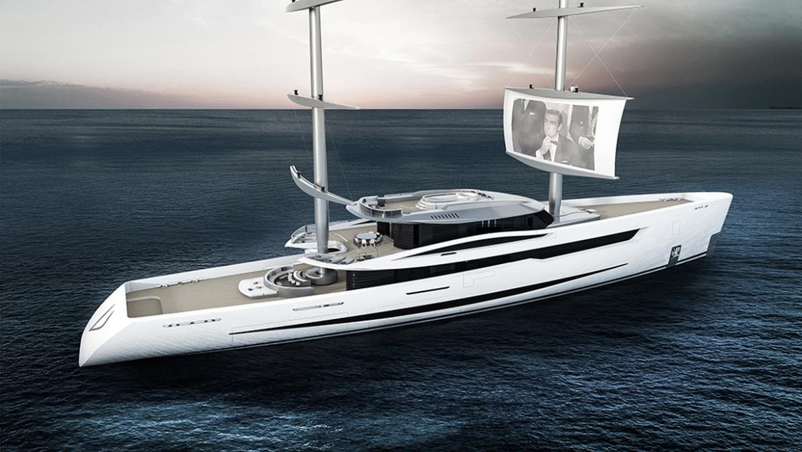 For a billionaire who loves cinema - A 80-meter yacht concept yacht that comes with retractable balconies and projects movies on the sails -