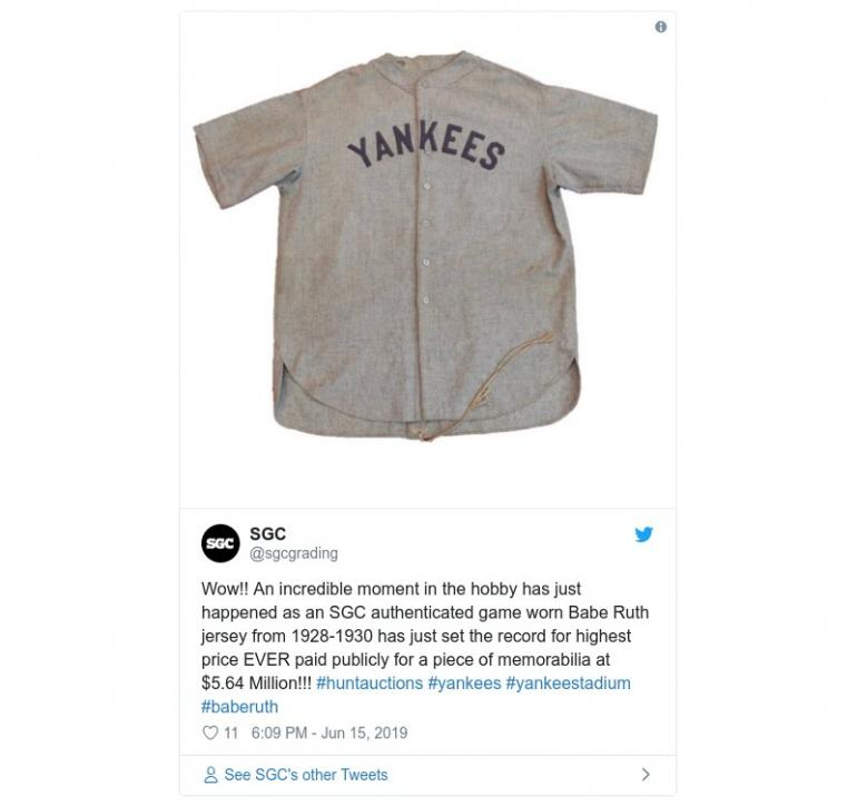 buy online 31af4 28579 A jersey worn by the New York Yankees legend Babe Ruth sells ...