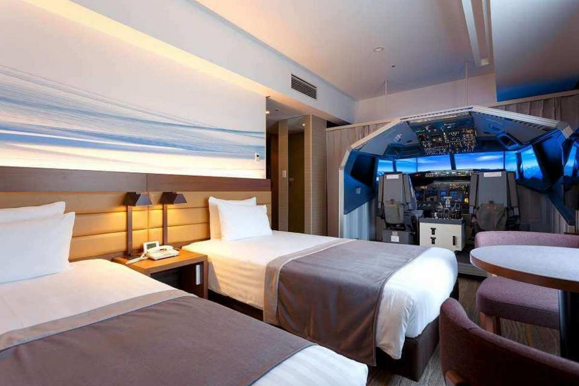 This Japanese hotel has one of the coolest room amenity - A full-sized flight simulator -