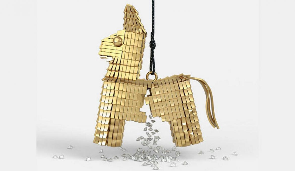 An ultimate gift of luxury (or not): A $85,000 gold Pinata necklace filled with 50 glittering diamonds -