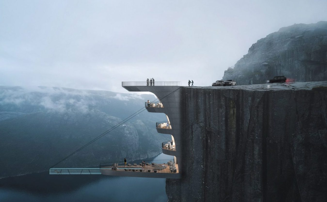 This proposed hotel in Norway will be built into a cliff and will have a pool suspended over a Fjord