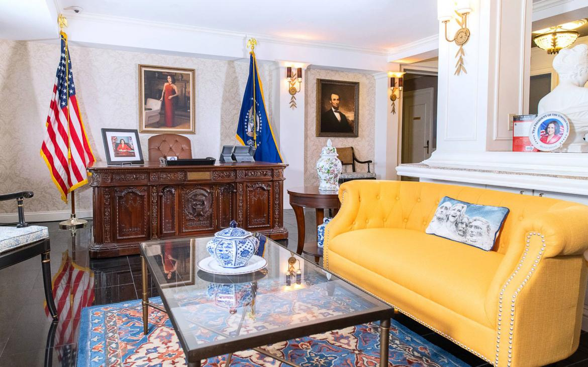 Live like the President at this Oval office themed suite -