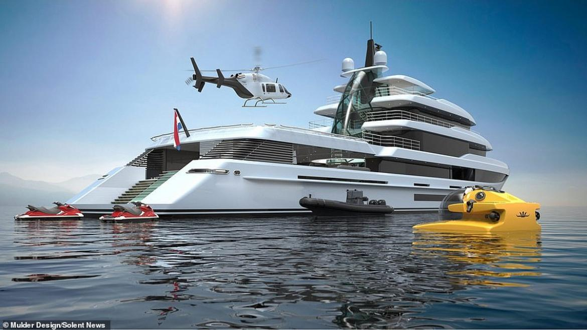 Fit for a Bond villain - This $87 million superyacht comes with a submarine, jet skis and its own helicopter -