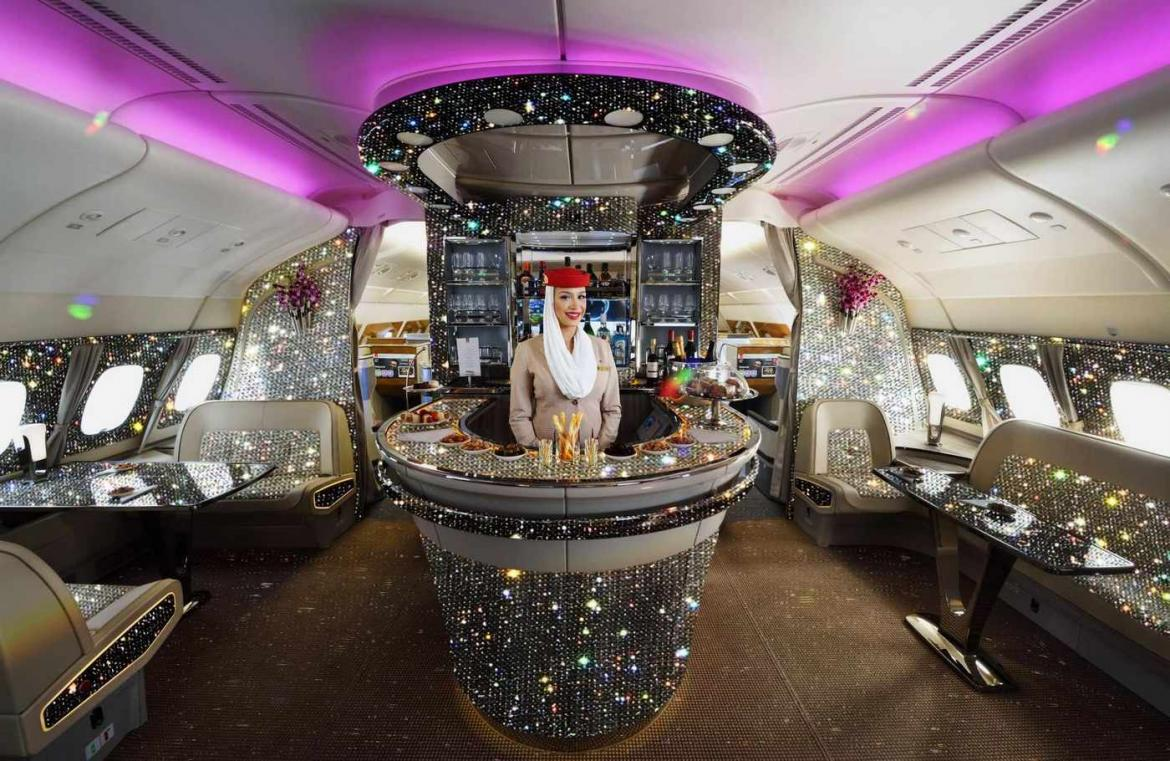 Use title - Take a look at the diamond-encrusted onboard lounge of the Emirates A380 -