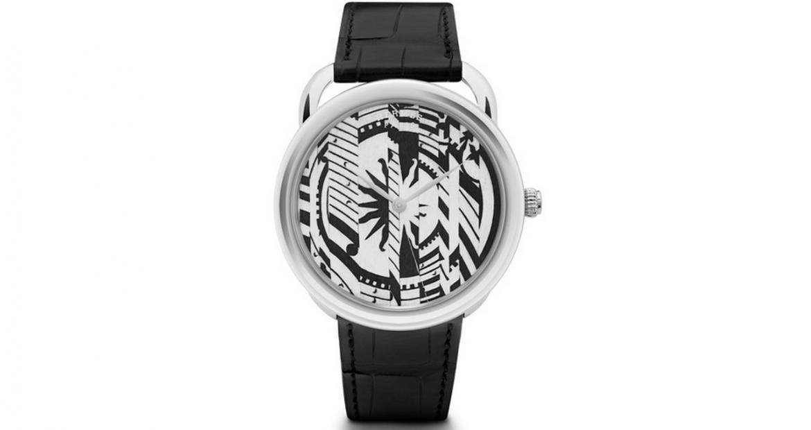 Hermès recreates its famous silk scarf pattern on the dial of a new limited edition Arceau timepiece -