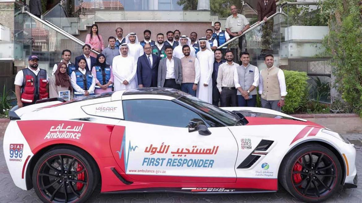 Dubai's Ambulance department adds a Chevrolet Corvette and a Nissan GTR to its fleet of emergency vehicles -