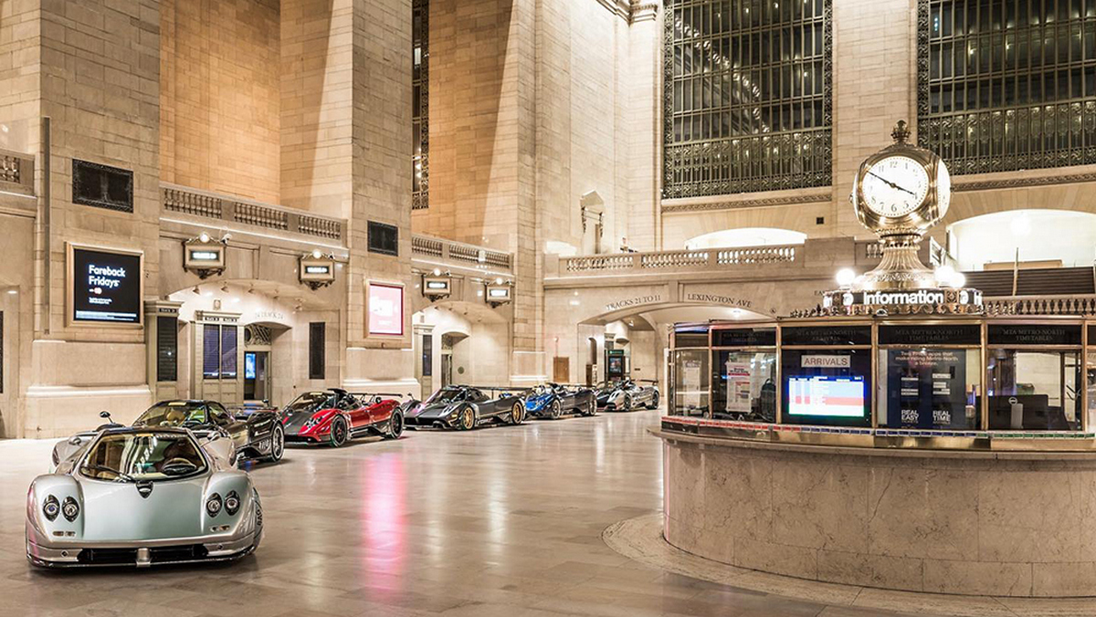 Pagani celebrates its 20th anniversary by taking over Grand Central Terminal with six hypercars worth $27 million