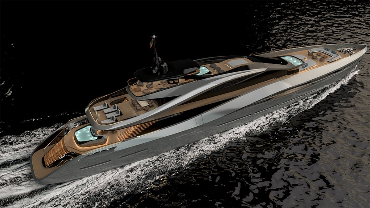 Pininfarina collaborates with Rossinavi to introduce a stunning all-aluminum 65-meter superyacht concept