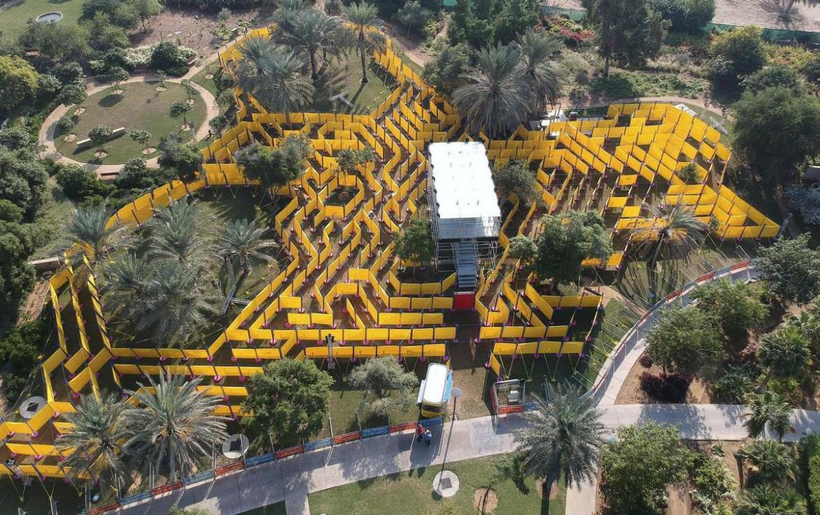 The world's largest mobile maze has set up camp at Abu Dhabi -