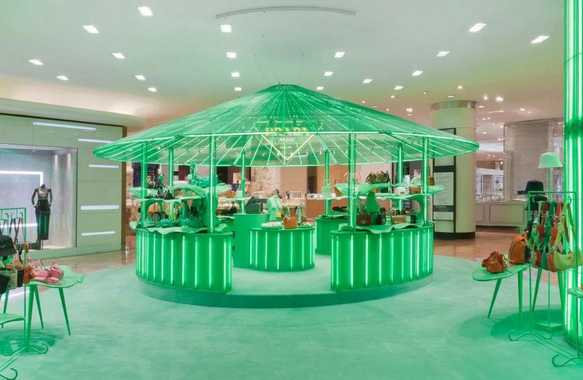 Prada and Galeries Lafayette come together to create eclectic pop-up displays called 'Hyper Leaves' -