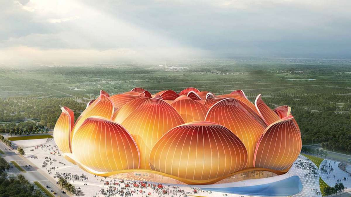 Shaped like a blooming lotus and with a capacity of more than 100,000 fans China is constructing the world's largest soccer stadium