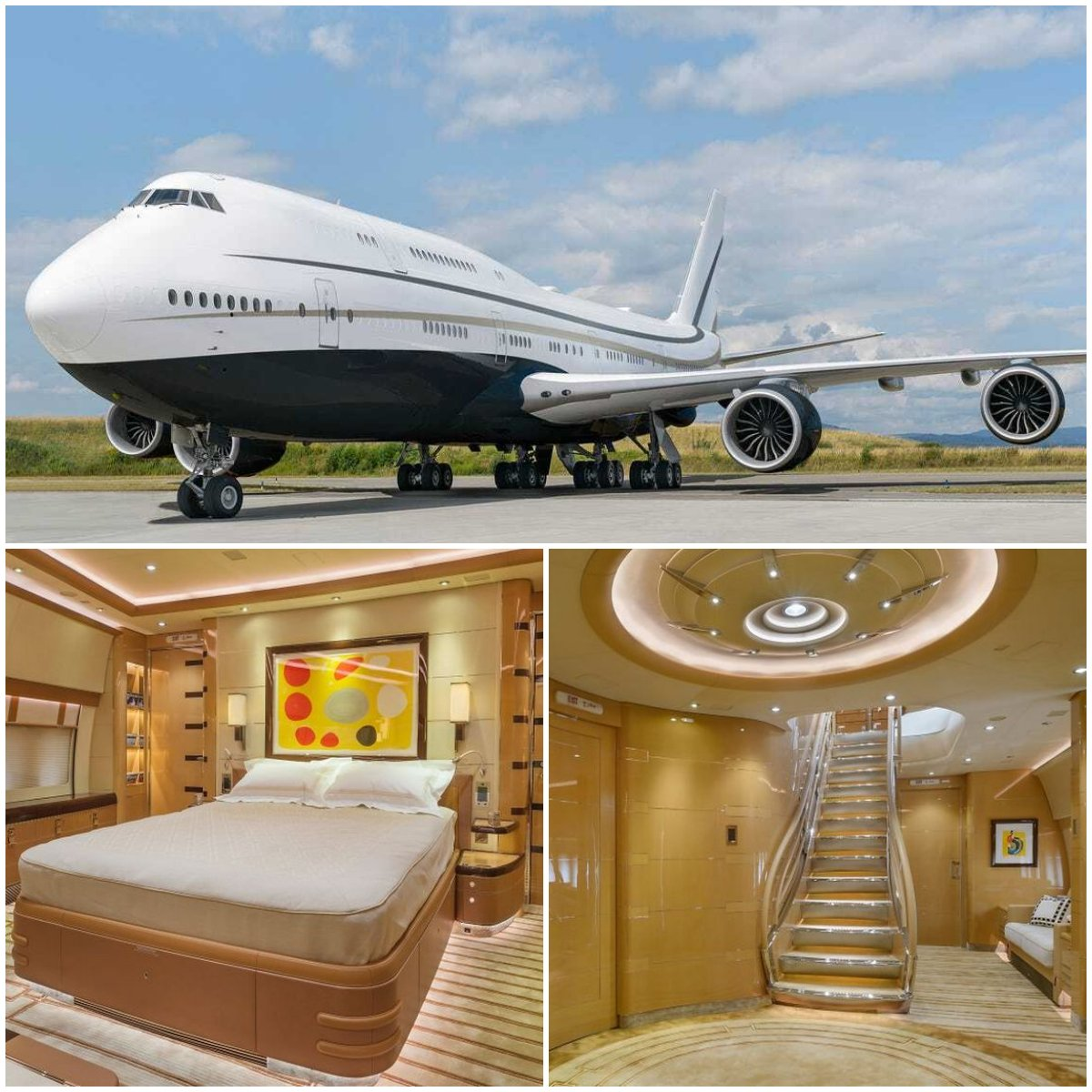 From lounges to dining areas to a spacious master bedroom and even a walk in shower – Take a look inside this Middle Eastern businessman's very own private Boeing 747 Jumbo jet