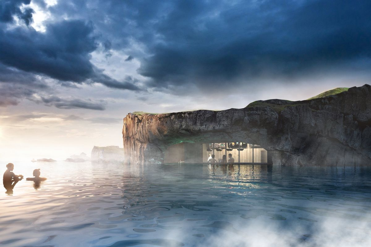 Iceland's upcoming infinity-edge geothermal lagoon will have sweeping ocean views of the Northern lights, a swim-up bar and more