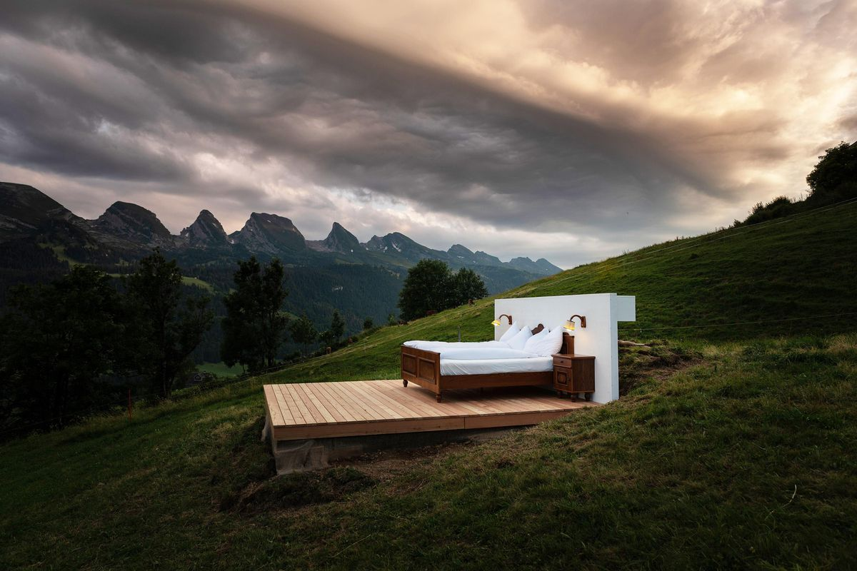 Social distancing in true Swiss style - This mountainside luxury hotel room has no walls or a roof but just the scenic mountainside : Luxurylaunches