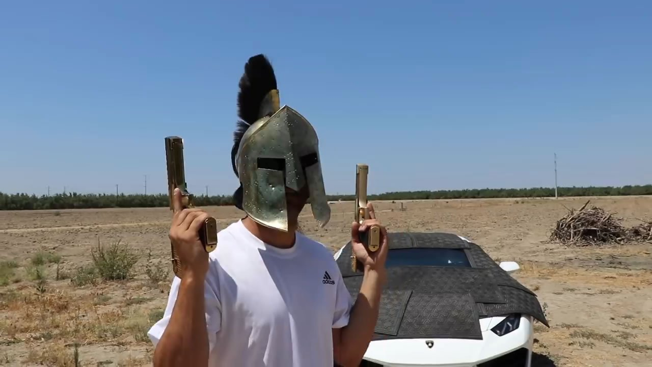 Video – Guy shoots a variety of weapons at his grandfather's alleged bulletproof Lamborghini while he is out of town