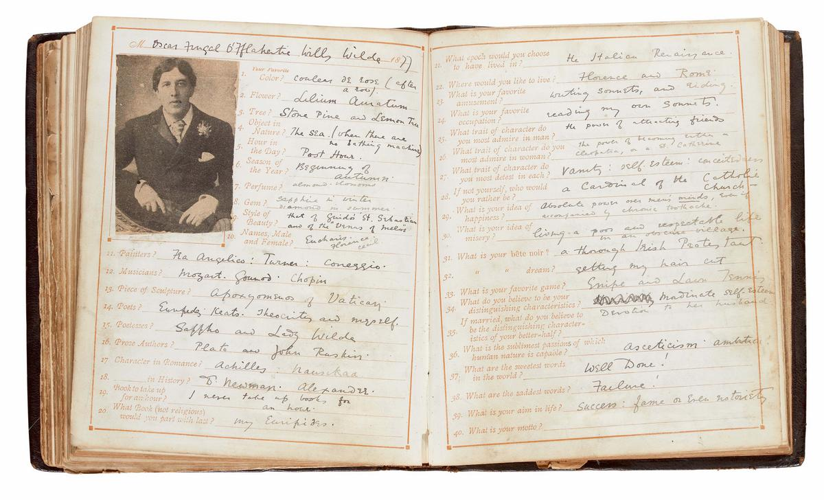A questionnaire filled by Oscar Wilde as a student at the Oxford university goes on sale for a little over $78,000 : Luxurylaunches