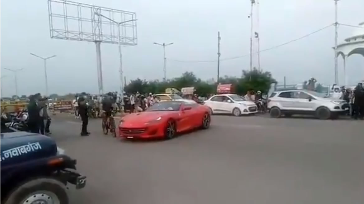 Video – An extra ignorant Ferrari owner tries pulling off donuts in front of the cops – Justice takes it course