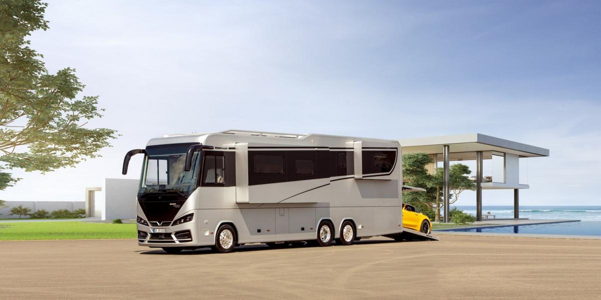 A hotel suite on wheels - Take a look inside this $1.7m luxury motorhome that comes with a full bathroom, master bedroom and a garage for your supercar : Luxurylaunches