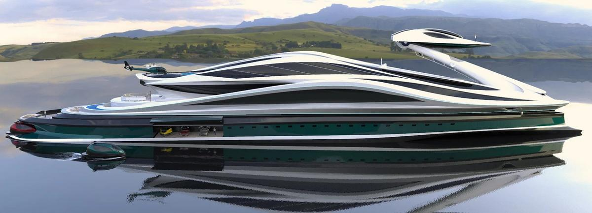 Cheeky even for a Bond villain – This mammoth $500 million swan-shaped megayacht concept has a detachable head that turns into a sleek speed boat