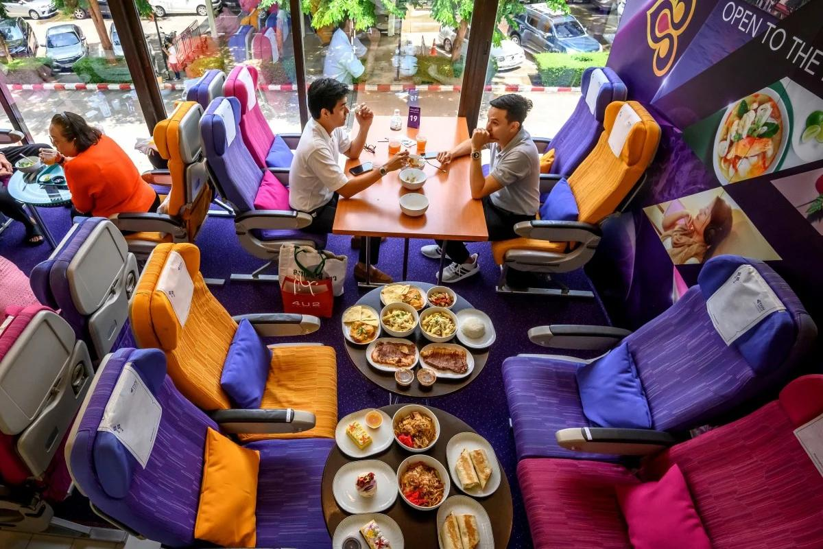 An ideal spot for those who miss flying – Thai Airways has opened an airplane-themed café