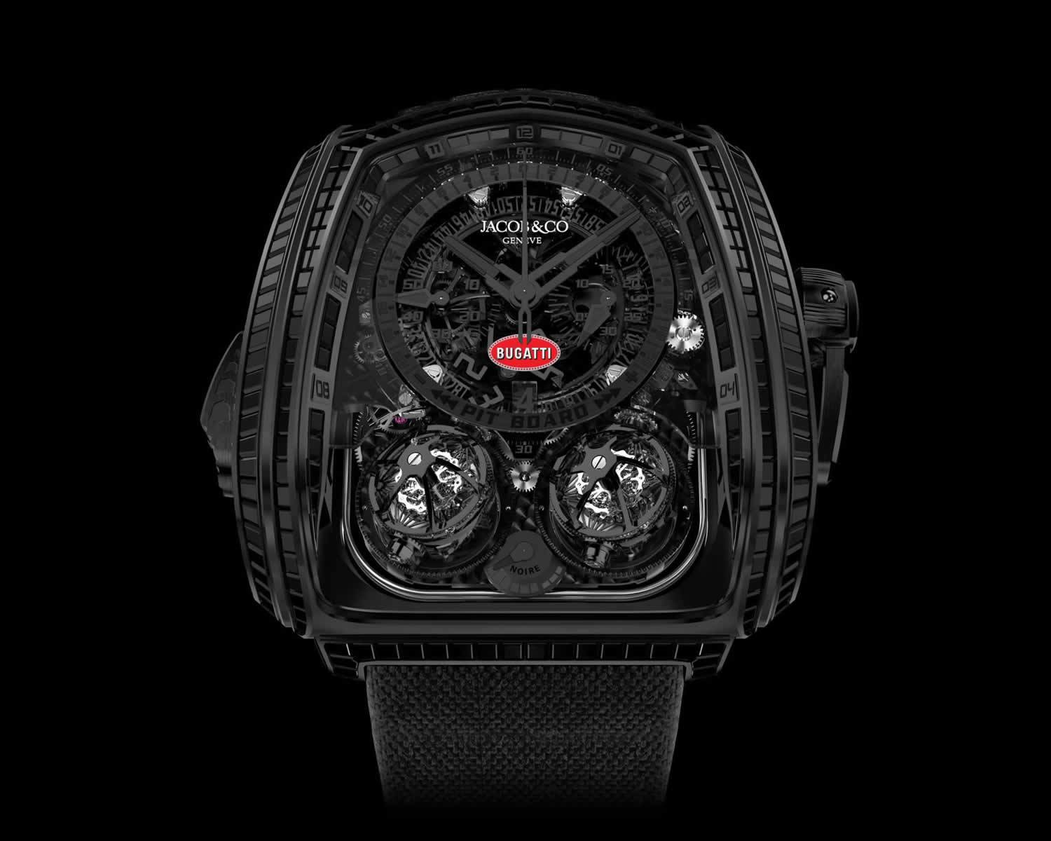 "The Jacob & Co. Twin Turbo Furious Bugatti ""La Montre Noire"" is a furiously complicated $1 million wristwatch that pays tribute to the world's most expensive new car"