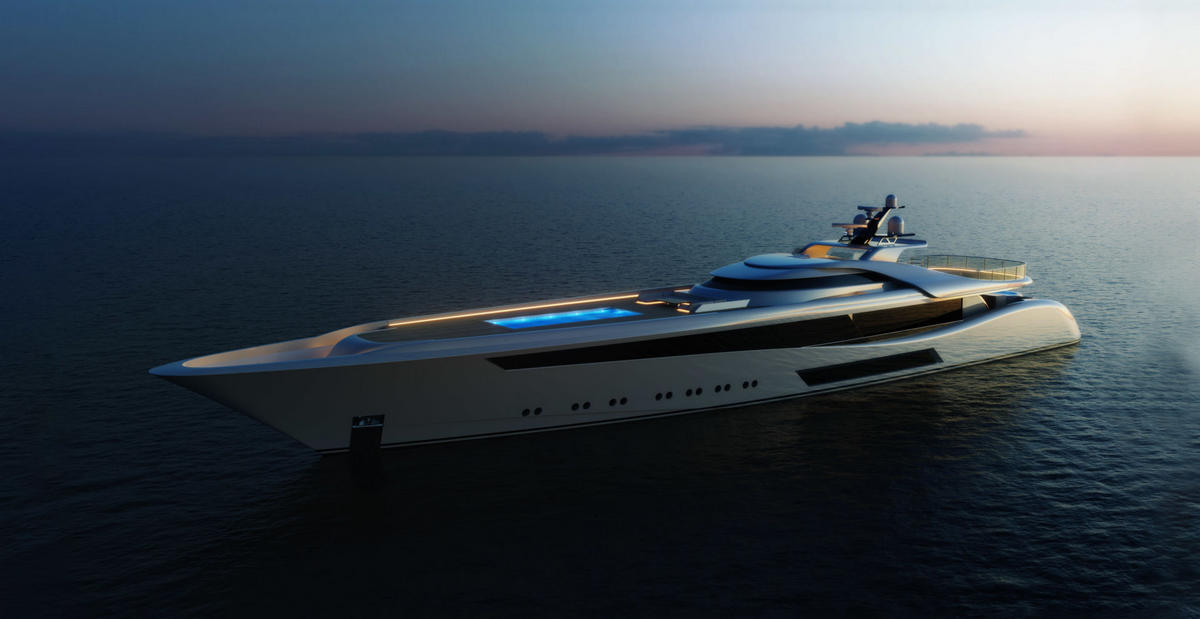 This gorgeous 207 feet mega yacht concept is inspired by the Jaguar E-Type sportscar and it comes with a full sized glass bottomed pool