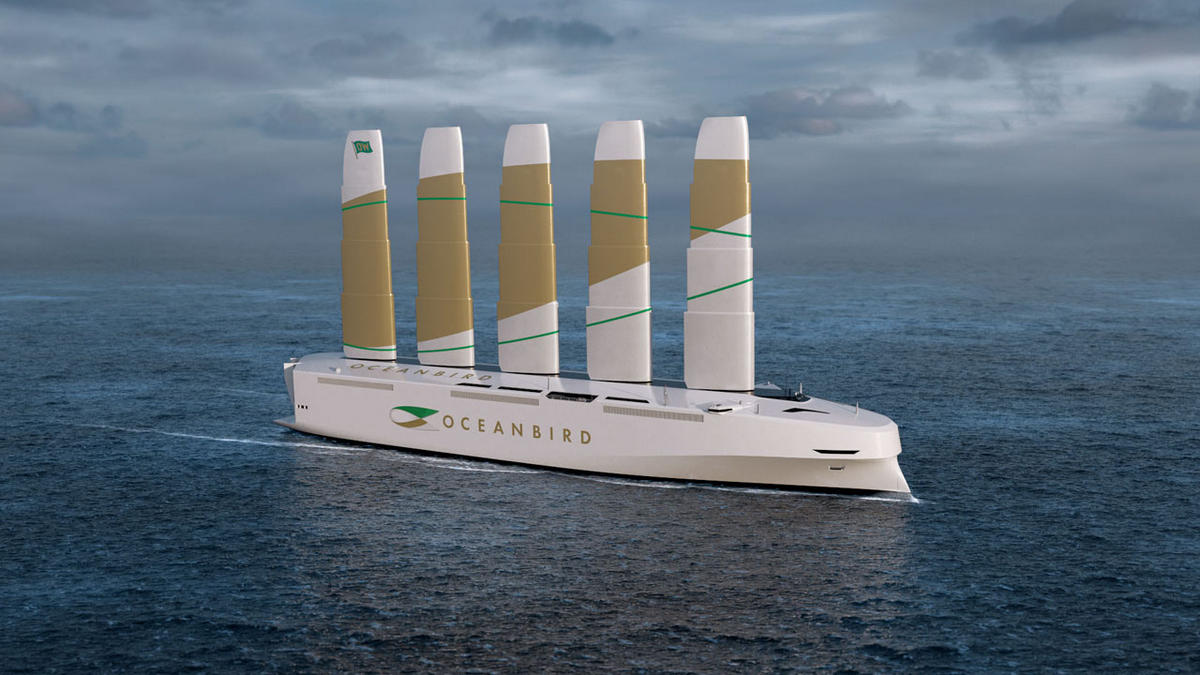 Longer than two football fields this is the worlds largest wind powered vessel and it can effortlessly transport 7,000 cars across the oceans