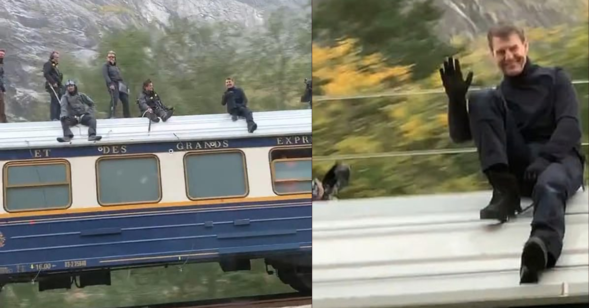 Norwegian motorists are left in shock on seeing Tom Cruise on the roof of the Orient Express train performing dizzying stunts for Mission Impossible 7