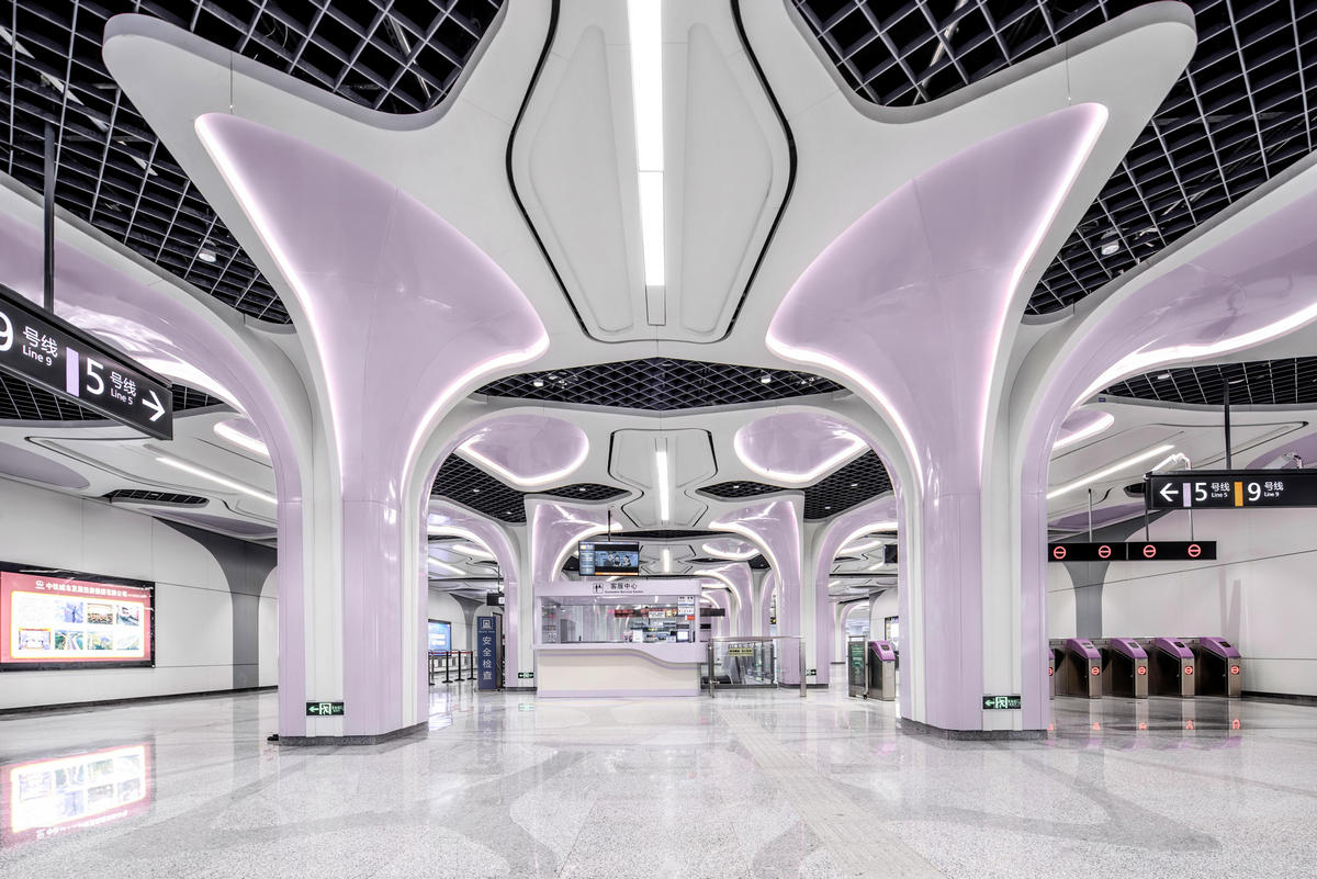 This may look like the set of a Sci-Fi movie but it is an actual subway station in China for a fully automated metro line